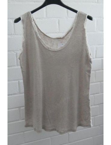 Damen Top Shirt beige sand uni Baumwolle Fransen Kante Onesize 36 - 40