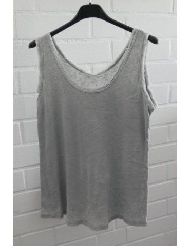 Damen Top Shirt hellgrau grau uni Baumwolle Fransen Kante Onesize 36 - 40