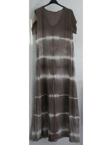 Damen Maxi Kleid taupe - braun weiß Baumwolle Batik Onesize 38 - 42