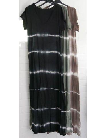 Damen Maxi Kleid taupe - braun weiß Baumwolle...
