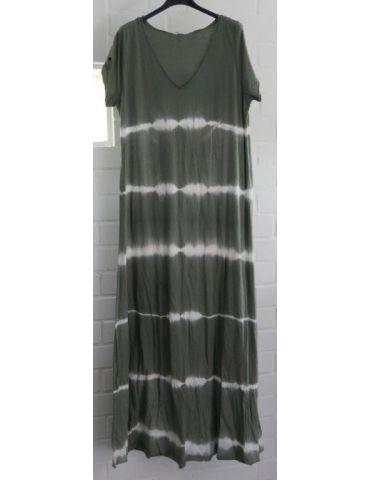 Damen Maxi Kleid khaki oliv weiß Baumwolle Batik Onesize 38 - 42