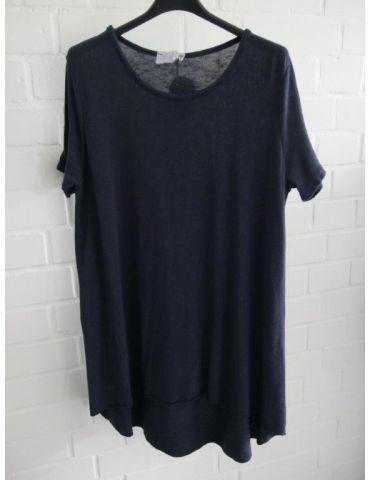 ESViViD Damen Tunika Shirt A-Form dunkelblau marine kurzarm Baumwolle Onesize ca. 38 - 44