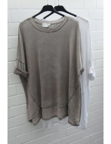ESViViD Damen Shirt 3/4 Ärmel grau grey mit...