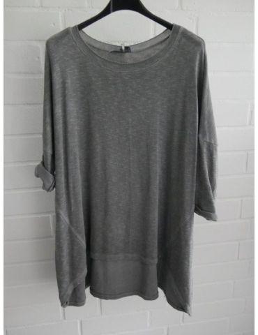 ESViViD Damen Shirt 3/4 Ärmel grau grey mit Baumwolle Onesize ca. 38 - 44 3611