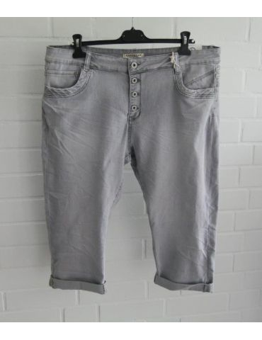 Karostar Coole Big Size Damen Capri 3/4 Jeans Hose hellgrau 4XL ca. 48 mit Baumwolle