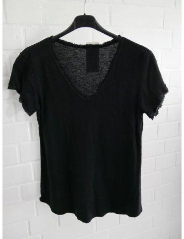 Damen Shirt kurzarm schwarz black verwaschen V-Ausschnitt Fransen Kanten Baumwolle Onesize 36 - 40