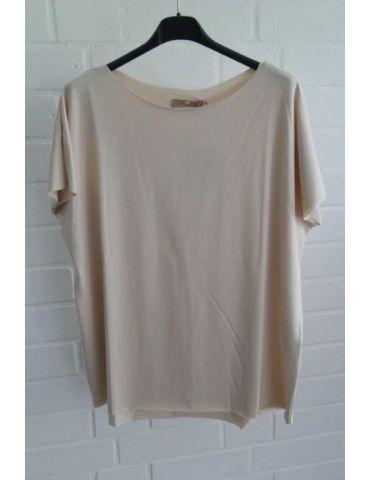 Damen Shirt kurzarm hellbeige mit Baumwolle Onesize 38 - 44