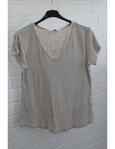 Damen Shirt kurzarm beige verwaschen V-Ausschnitt Fransen Kanten Baumwolle Onesize 36 - 40