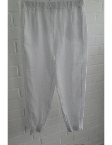 Xuna Damen 100% Leinen Hose weiß white Onesize 36 38