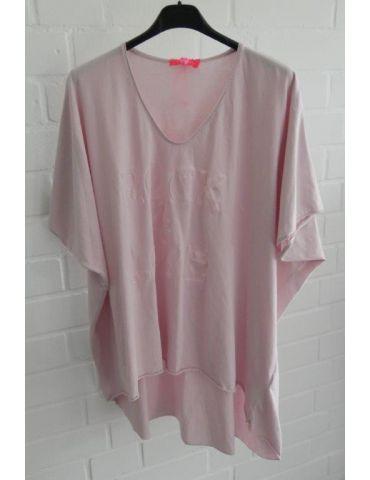 """Damen Shirt kurzarm rose rosa V-Ausschnitt 3D """"ROCK & LOVE"""" Baumwolle Onesize 38 - 46"""