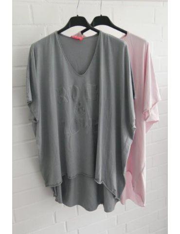 Damen Shirt kurzarm grau grey V-Ausschnitt 3D...