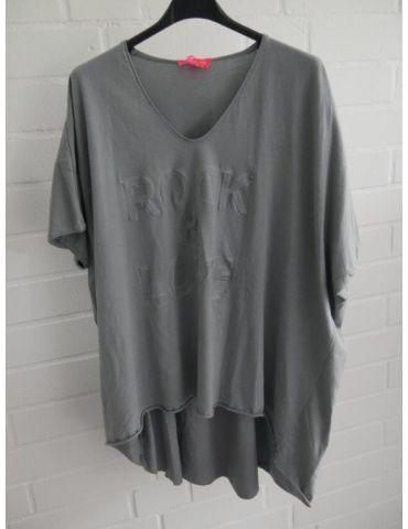 """Damen Shirt kurzarm grau grey V-Ausschnitt 3D """"ROCK & LOVE"""" Baumwolle Onesize 38 - 46"""