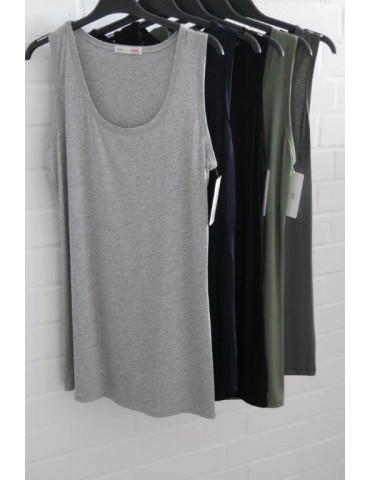 Damen Basic Top Shirt khaki oliv grün mit...