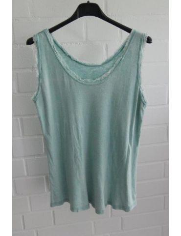 Damen Top Shirt grün uni Baumwolle Fransen Kante Onesize 36 - 40