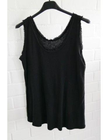 Damen Top Shirt schwarz black uni Baumwolle Fransen Kante Onesize 36 - 42