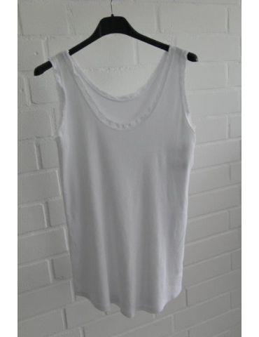 Damen Rippen Top Shirt weiß white uni mit Baumwolle Fransen Kante Onesize 36 - 42