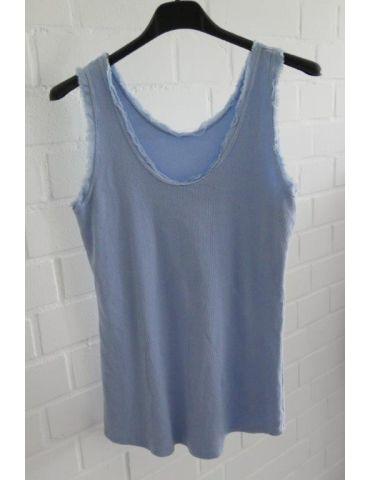 Damen Rippen Top Shirt hellblau blau uni mit Baumwolle Fransen Kante Onesize 36 - 42