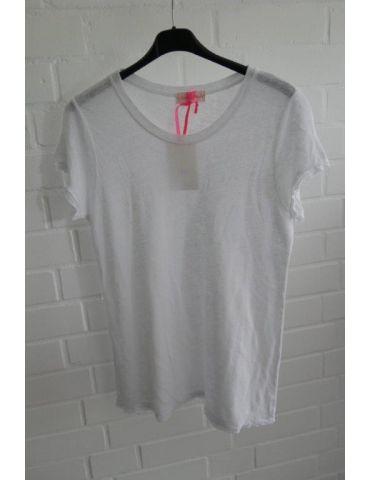 Damen Shirt 100% Leinen kurzarm weiß white Kanten gefranst Onesize 38 40