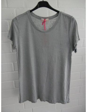 Damen Shirt 100% Leinen kurzarm grau grey Kanten gefranst Onesize 38 40