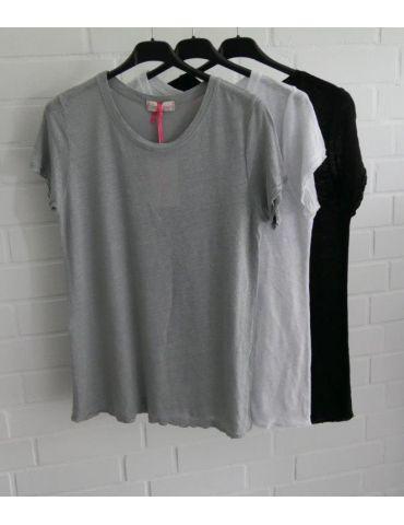 Damen Shirt 100% Leinen kurzarm schwarz black...