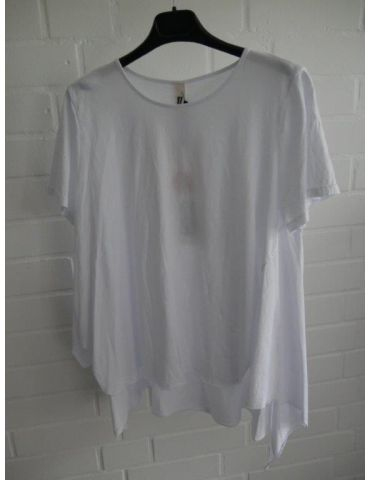 Wendy Trendy Damen Shirt kurzarm weiß white uni Baumwolle Onesize 38 - 44 217491