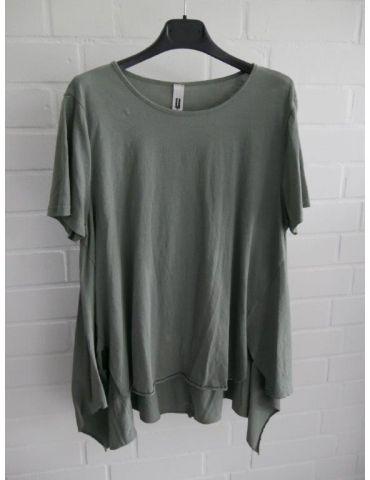 Wendy Trendy Damen Shirt kurzarm khaki oliv grün uni Baumwolle Onesize 38 - 44 217491