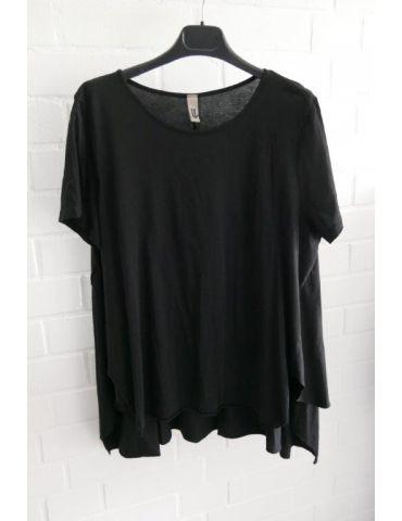 Wendy Trendy Damen Shirt kurzarm schwarz black uni Baumwolle Onesize 38 - 44 217491