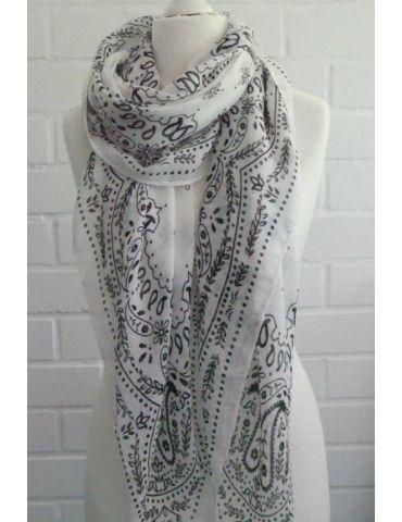 Leichter XL Damen Schal Tuch weiß schwarz...