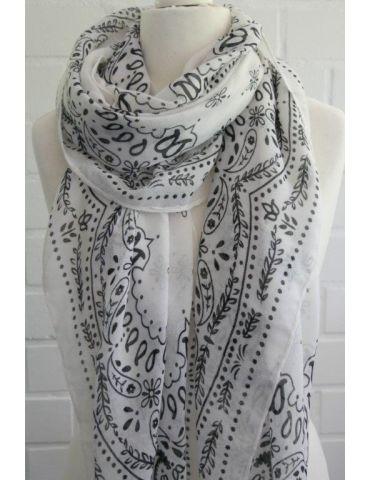 Leichter XL Damen Schal Tuch weiß schwarz Phantasiemuster