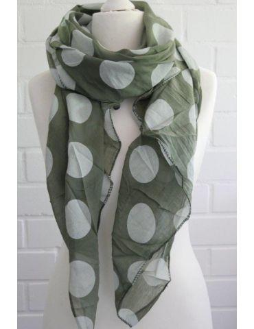 Schal Tuch Loop Made in Italy Seide Baumwolle khaki oliv weiß Riesen Punkte