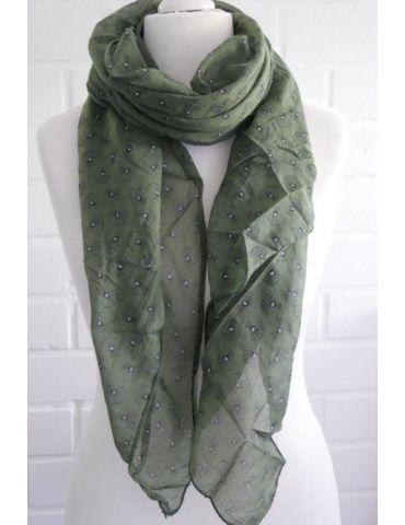 Schal Tuch Loop Made in Italy Seide Baumwolle khaki schwarz weiß Pfau