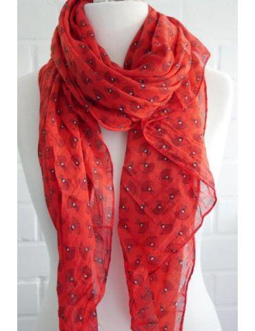 Schal Tuch Loop Made in Italy Seide Baumwolle rot schwarz weiß Pfau