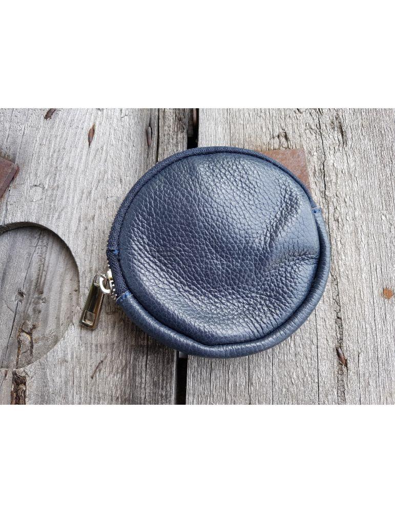 Portemonnaie Geldbörse Börse Taschenanhänger rund dunkelblau Echtes Leder