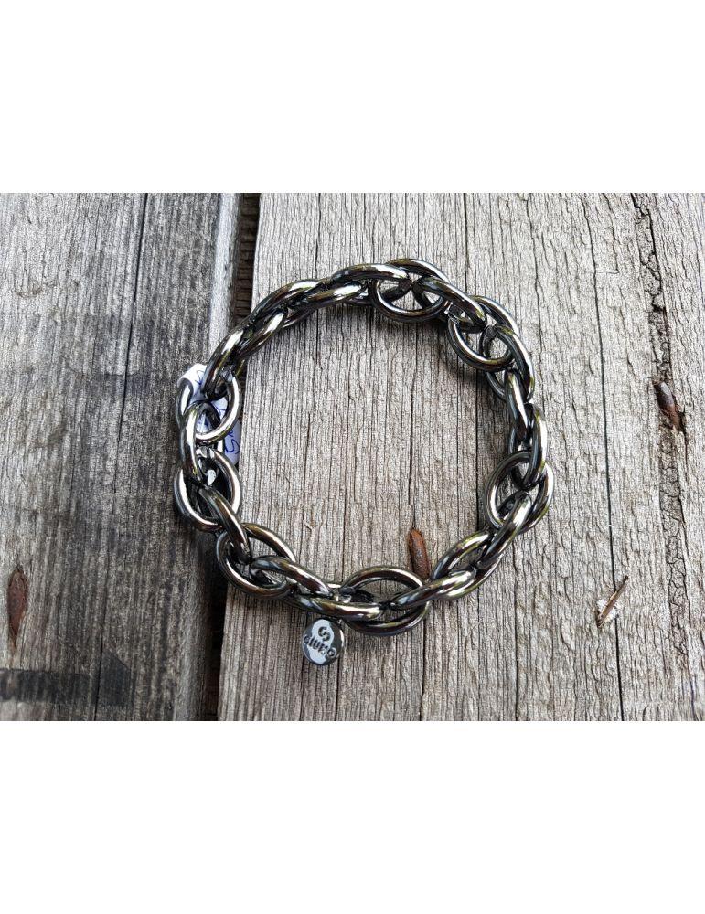 Trendiges Gliederarmband Elastisch anthrazit grau glänzend Kunststoff Onesize