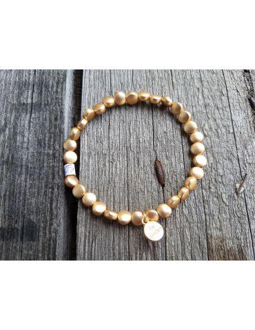 Trendiges Damen Armband elastisch goldt matt flache Perlen klein Kunststoff Metall Onesize