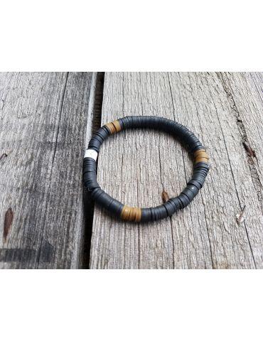 Damen Armband Elastisch schwarz khaki Gummi Plättchen Onesize