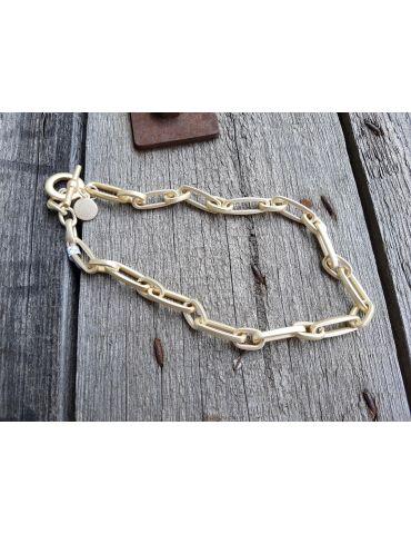 Trendige Damen Glieder Modeschmuck Kette Halskette kurz goldfarben