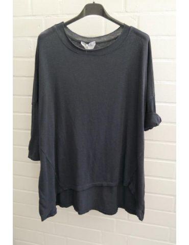 ESViViD Damen Shirt 3/4 Ärmel dunkelblau marine mit Baumwolle Onesize ca. 38 - 44 3611