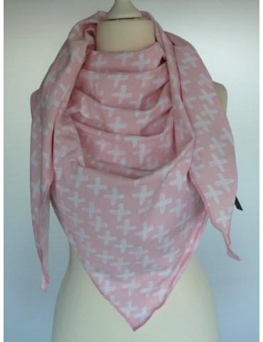 Zwillingsherz Dreieckstuch Schal rose rosa weiß Kreuze mit Baumwolle