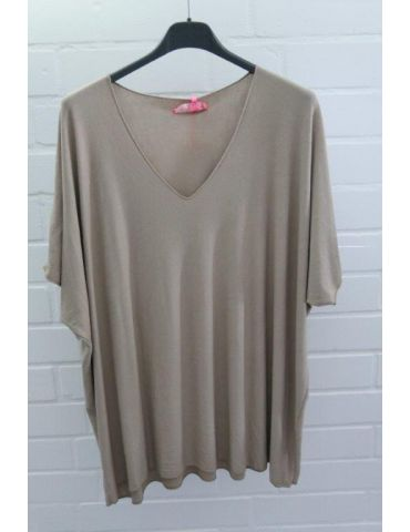 Damen Basic Shirt kurzarm camel matt uni mit Viskose Onesize ca. 38 - 46