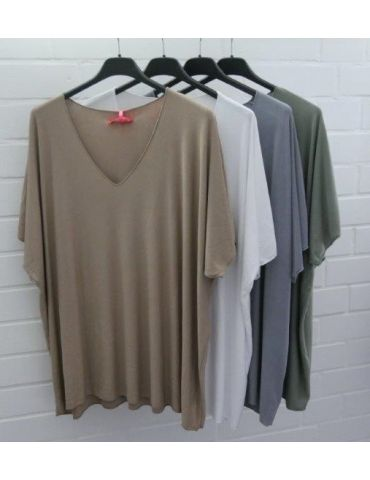 Damen Basic Shirt kurzarm grau grey matt uni...