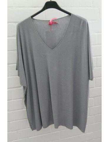 Damen Basic Shirt kurzarm grau grey matt uni mit Viskose Onesize ca. 38 - 46