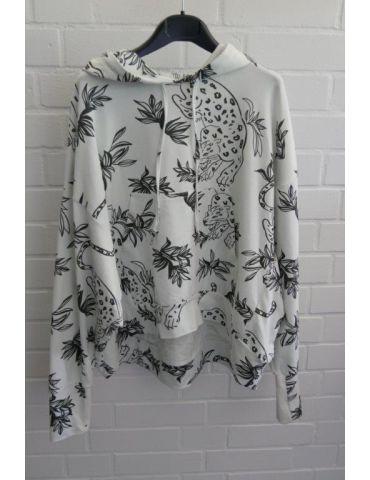 ESViViD XXL Big Size Hoodie Sweat Shirt langarm weiß schwarz Safari mit Baumwolle