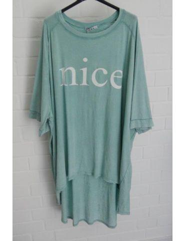 """XXXL Big Size T- Shirt kurzarm grün weiß """"NICE"""" Baumwolle Onesize 38 - 50"""