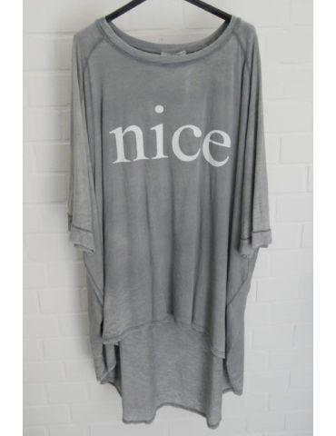 """XXXL Big Size T- Shirt kurzarm grau weiß """"NICE"""" Baumwolle Onesize 38 - 50"""