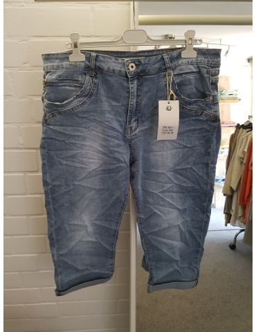Karostar Coole Big Size Damen Capri 3/4 Jeans Hose blau 4XL ca. 48 mit Baumwolle