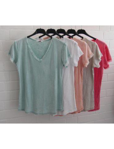 Damen Shirt kurzarm rose rosa verwaschen...