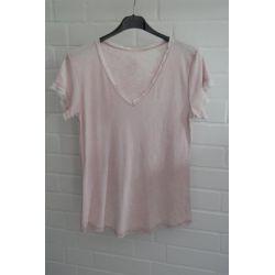 Damen Shirt kurzarm rose rosa verwaschen V-Ausschnitt Fransen Kanten Baumwolle Onesize 36 - 40