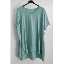 Damen Shirt A-Form kurzarm grün Baumwolle Onesize ca. 38 - 46