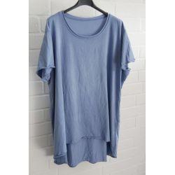 Damen Shirt A-Form kurzarm jeansblau Baumwolle Onesize ca. 38 - 46